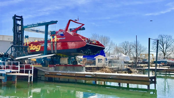 Chicago Seadog boat launch at Sunset Bay Marina.
