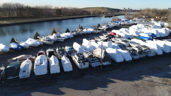 Outdoor boat storage at Sunset Bay Marina in Chicago, Illinois.