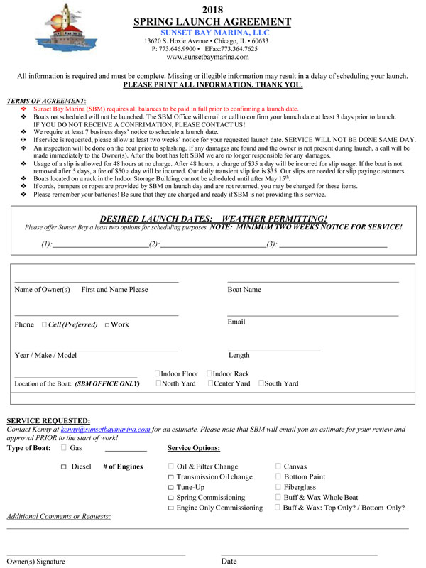 Spring Launch Agreement Chicago Marina Spring Launch Form