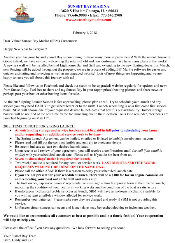 sunset bay marina cover letter chicago marina welcome letter